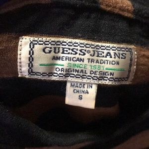 270df0a8fa Guess Shirts | Brown N Black Stripe Menace To Society Ss | Poshmark